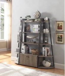 -BOOKCASE FINISHED IN DRIFTWOOD-FRAME CONSTRUCTED WITH STEEL FINISHED IN BRONZE-CORNER BOOKCASE AVAILABLE (#801926)