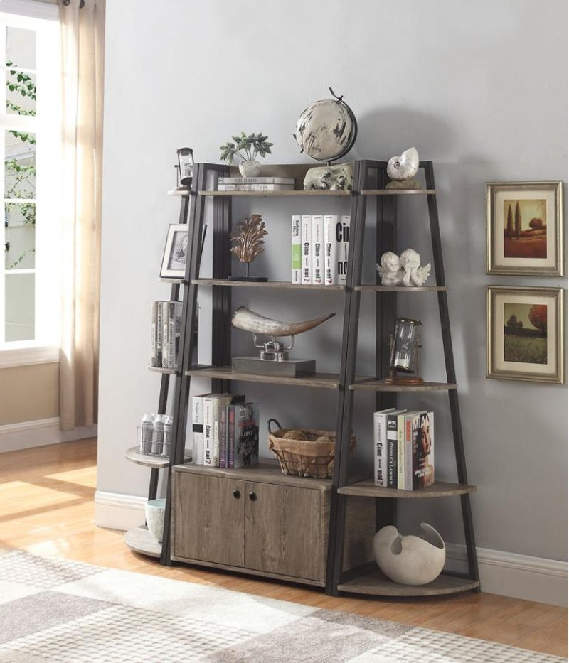 Bookcase Finished In Driftwood Frame Constructed With Steel Bronze Corner
