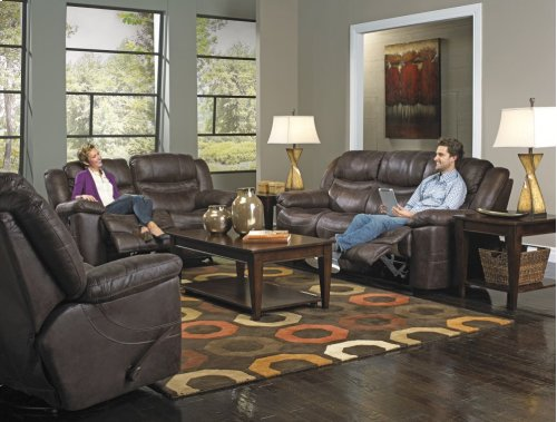 PWR Reclining Sofa w/3 Recliner & Drop Down Table - Elk