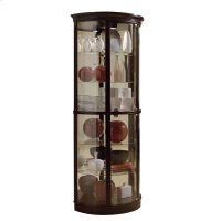 Half Round 5 Shelf Curio Cabinet in Warm Cherry Brown Product Image