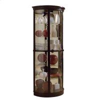 Half Round 5 Shelf Curio Cabinet in Warm Cherry Brown Product Image
