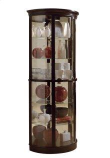 Half Round 5 Shelf Curio Cabinet in Warm Cherry Brown