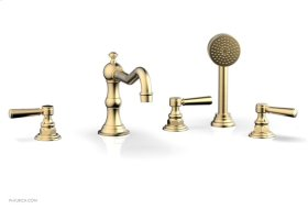 HENRI Deck Tub Set with Hand Shower with Lever Handles 161-49 - Satin Brass