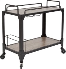 Midtown Light Oak Wood and Iron Kitchen Serving and Bar Cart with Wine Glass Holders