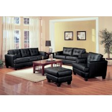 Samuel Transitional Black Three-piece Living Room Set