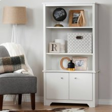 3-Shelf Bookcase with Doors - Pure White