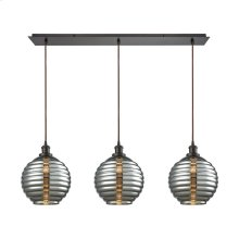 Ridley 3 Light Linear Pan Pendant in Oil Rubbed Bronze with Smoke Plated Beehive Glass