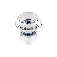 Clear Octagon Crystal Knob 1 3/8 Inch - Polished Chrome