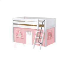 Low Loft w/ Angle Ladder & Curtain : Twin : White : Panel