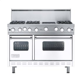 "White 48"" Open Burner Range - VGIC (48"" wide, six burners 12"" wide char-grill)"
