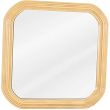 """26"""" x 26"""" Reed-frame mirror with beveled glass and Buttercream finish."""