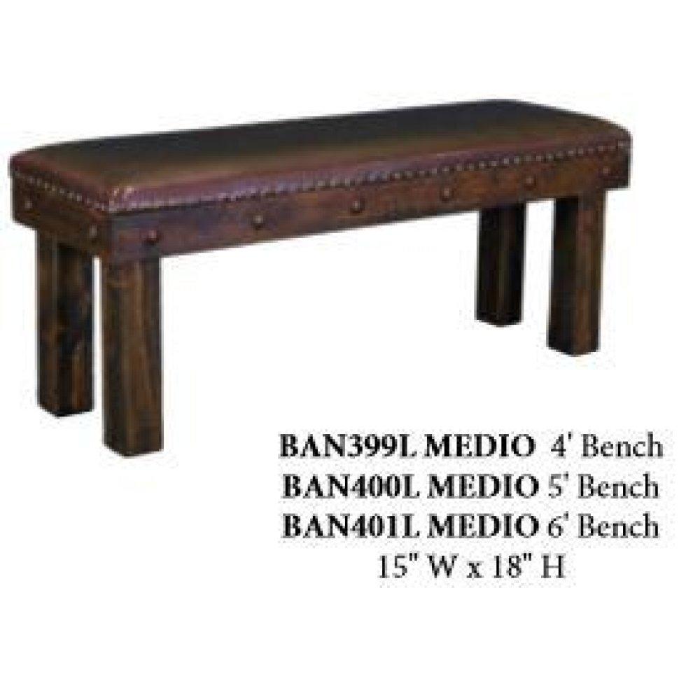 6' Laguna Bench W/Leather Seat