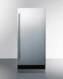 """15"""" Wide Built-in Undercounter Clear Icemaker With Internal Pump, Stainless Steel Door, and Black Cabinet"""