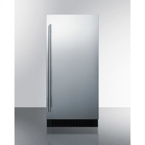 "Summit15"" Wide Built-in Undercounter Clear Icemaker With Internal Pump, Stainless Steel Door, and Black Cabinet"