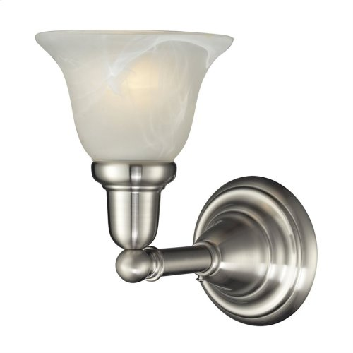 1LIGHT GLASS BATH BAR in SATIN NICKEL FINISH
