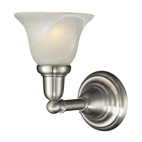 1LIGHT GLASS BATH BAR in SATIN NICKEL FINISH