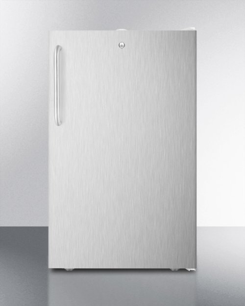 """Commercially Listed ADA Compliant 20"""" Wide Freestanding Refrigerator-freezer With A Lock, Stainless Steel Door, Towel Bar Handle and White Cabinet"""
