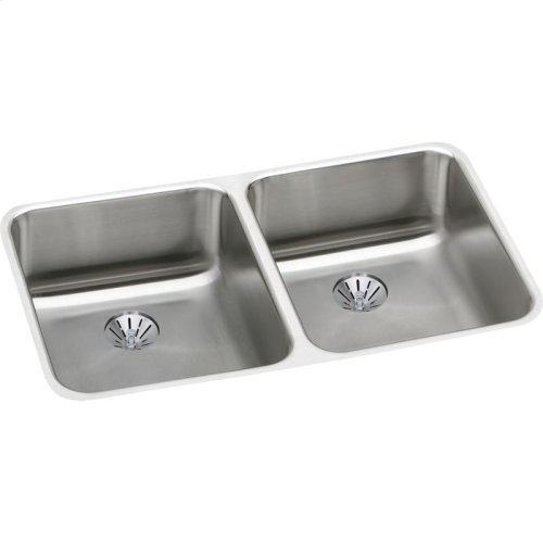 """Elkay Lustertone Classic Stainless Steel, 30-3/4"""" x 18-1/2"""" x 5-3/8"""", Double Bowl Undermount ADA Sink w/Perfect Drain"""