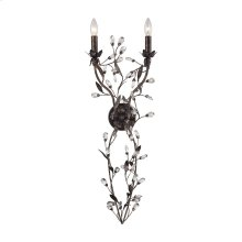 Circeo 2-Light Sconce in Deep Rust with Crystal