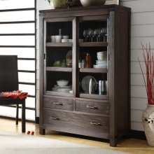 Promenade - Sliding Door Bookcase - Warm Cocoa Finish