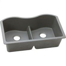 "Elkay Quartz Classic 33"" x 20"" x 9-1/2"", Equal Double Bowl Undermount Sink with Aqua Divide, Greystone"