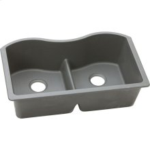 "Elkay Quartz Classic 33"" x 20"" x 9-1/2"", Equal Double Bowl Undermount Sink with Aqua Divide, Greystone"