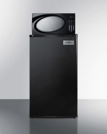 Compact Refrigerator-freezer-microwave Combination Unit With Automatic Defrost and Black Finish
