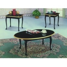 3PC BLACK QUEEN ANNE TABLE SET