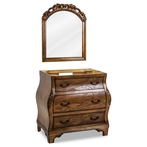 "34"" vanity base with a rich Walnut burled finish and hand-carved botanical details."