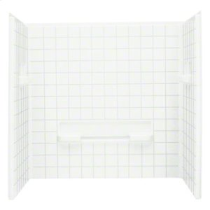 """OC-SS-63 35-1/4"""" x 60"""" Seated Shower with Age in Place Backers - Wall Set - White Product Image"""