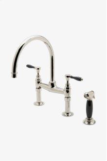 Easton Vintage Two Hole Bridge Gooseneck Kitchen Faucet, Black Porcelain Lever Handles and Spray STYLE: EAKM44
