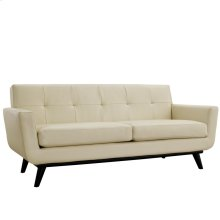 Engage Bonded Leather Loveseat in Beige