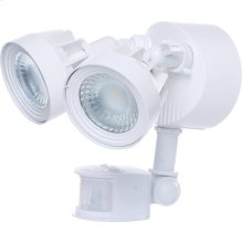 24W LED Dual Head Security Light Fixture - White Finish - Motion Sensor