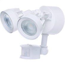 24W LED Dual Head Security Light Fixture - White Finish - Motion Sensor