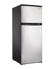 Our deluxe mid-size fridge with a stainless steel door is a modern and contemporary alternative to white.  Sleek, stylish and designed for a small condo or bachelor apartment this model takes up a minimal amount of space while providing ample storage.  This 9.1cubic foot mid-size refrigerator offers a 2.26 cubic foot freezer section plus a generous 6.86 cubic foot refrigerator section.  It also makes a great addition to a wet bar or rec-room.