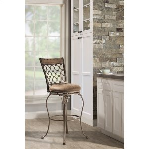 Hillsdale FurnitureLannis Swivel Bar Stool - Brushed Steel Metal With Distressed Brown/gray Finished Wood