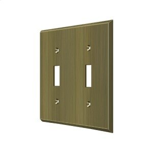 Switch Plate, Double Standard - Antique Brass