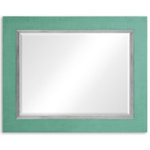 "Robin's Egg and Silver ""Homespun"" Mirror"