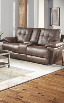 STANDARD 4147631 Hollister Brown Power Reclining Console Loveseat