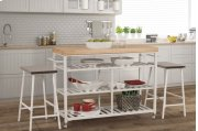 Kennon 3 Piece Kitchen Cart Set - Natural Wood Top Product Image