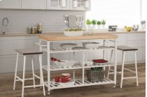 Kennon 3-piece Kitchen Cart Set - White With Natural Wood Top Product Image