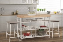 Kennon 3-piece Kitchen Cart Set - White With Natural Wood Top