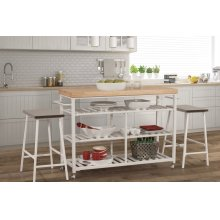 Kennon 3 Piece Kitchen Cart Set - Natural Wood Top
