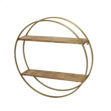 "Metal / Wood 26"" Wall Shelf, Gold"
