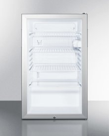 "Commercially Listed ADA Compliant 20"" Wide Glass Door All-refrigerator for Built-in Use, Auto Defrost With A Lock and White Cabinet"