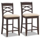 Wood Double Crossback Counter Height Stool w/Beige Microfiber Seat #10084WG/BG - Set of 2 Product Image
