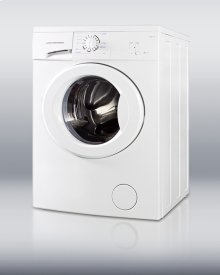"Front-load washer with European design, stainless steel drum, and 1000 rpm in slim 24"" width"