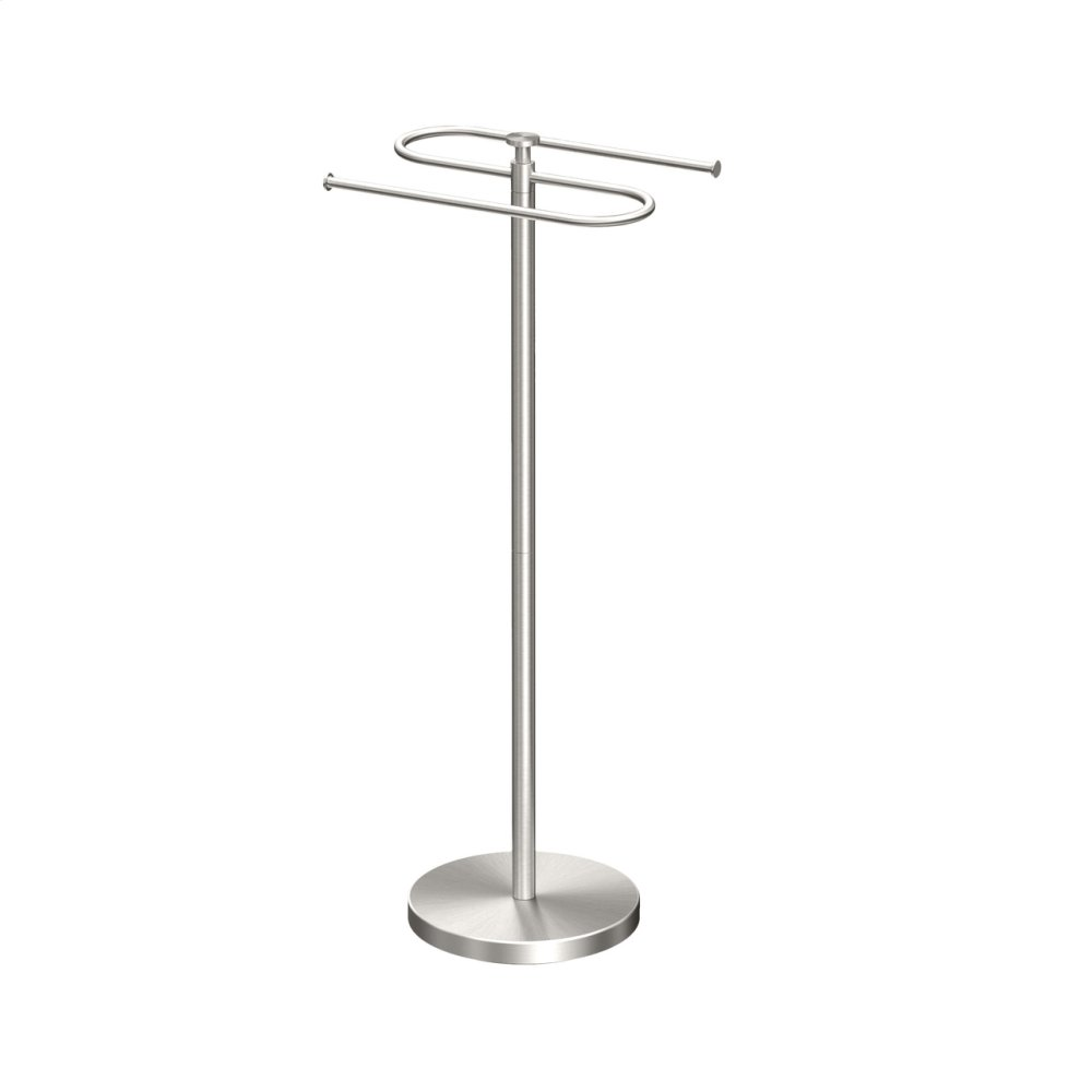 Modern Floor S-Towel Holder in Satin Nickel