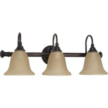"""3-Light 24"""" Wall Mounted Vanity Light Fixture in Old Bronze Finish with Amber Water Glass"""