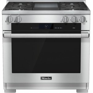 MieleHR 1936-2 G 36 inch range Dual Fuel with M Touch controls, Moisture Plus and M Pro dual stacked burners